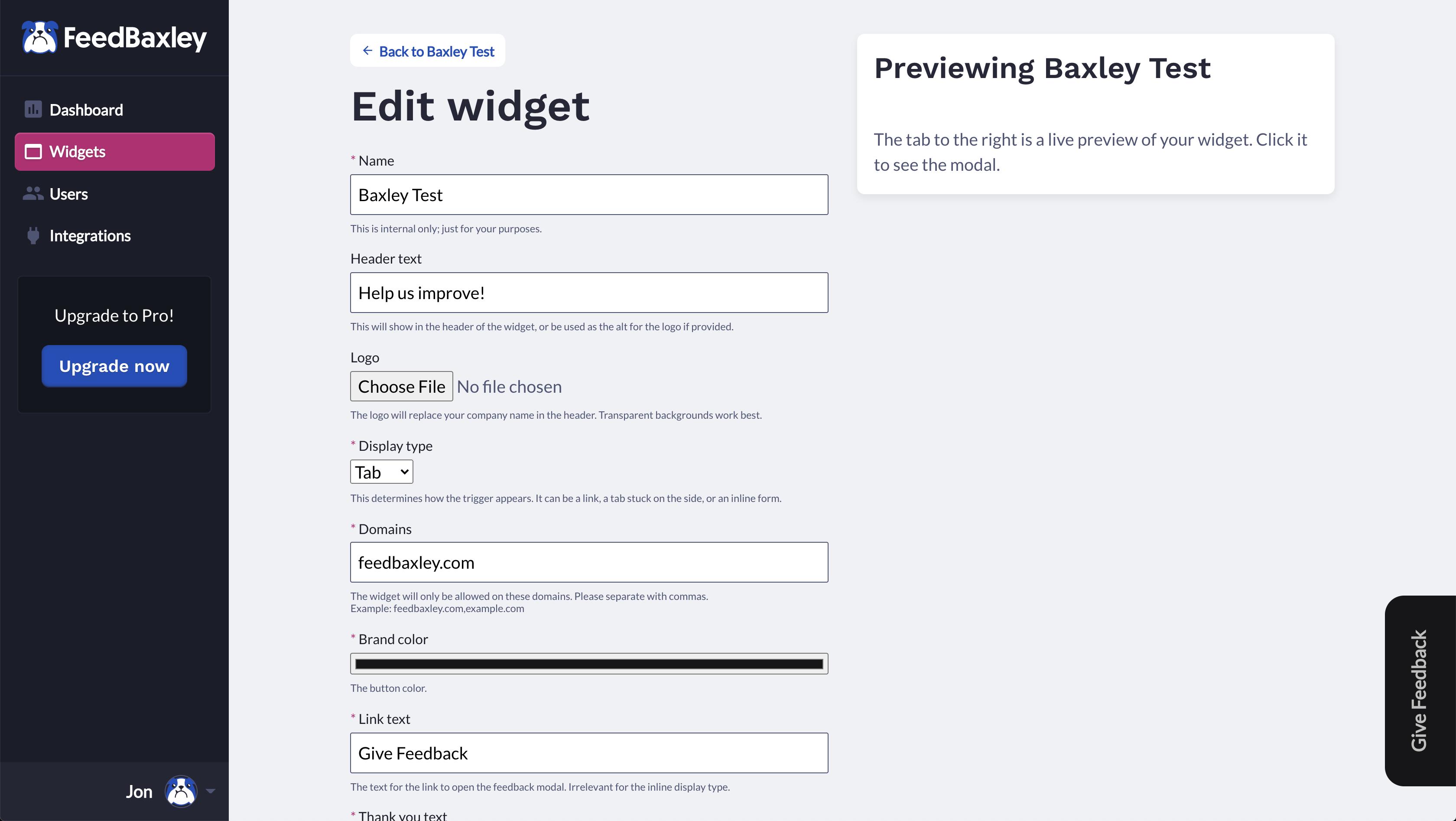 Widget preview